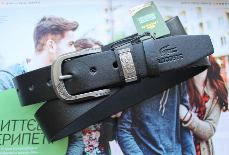 Мужской ремень кожаный Lacoste черный