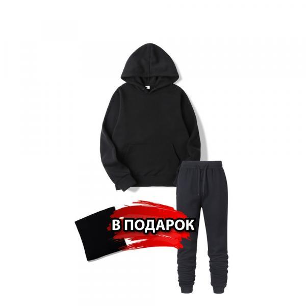 Утепленная черная толстовка в подарок штаны и бафф