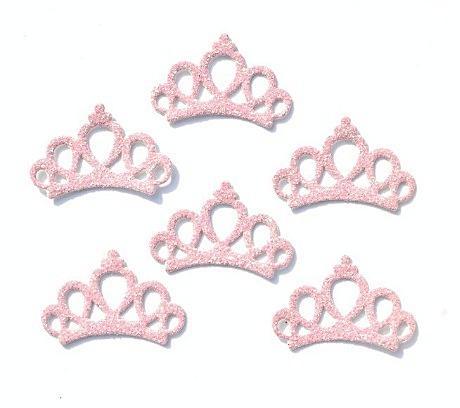 Тканевая   Корона   30 * 20 мм.   с    Светло - розовым  глитерным  покрытием.