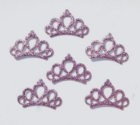 Фото Вязаный  и  тканевый  декор . Тканевая   Корона   30 * 20 мм.   с   Сиренево - розовым  глитерным  покрытием.