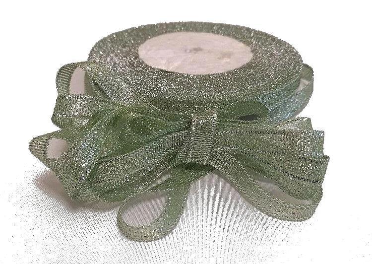 Фото Ленты, Лента парча 0.6мм-5см Лента парчёвая Серебро с салатовым оттенком. 0,6 см. Бобина 22,7 м.
