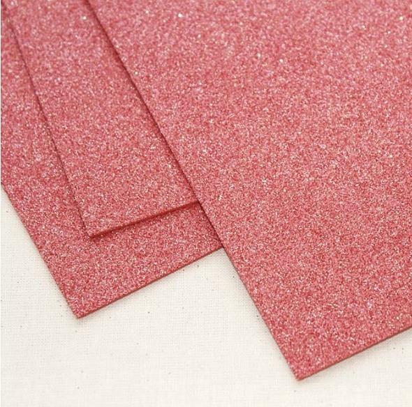Фото Экокожа  с  глитером ,  и  Фоамиран  гладкий  и  с  глитером ,  Фом  20 * 30 см цвет Кораллово - красный с радужным глитером ( без клеевой основы ) толщина 2 мм.