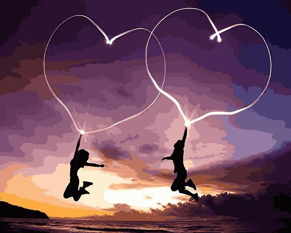 Фото Картины на холсте по номерам, Романтические картины. Люди VP 1224 Влюблённые сердца Картина по номерам на холсте 40х50см