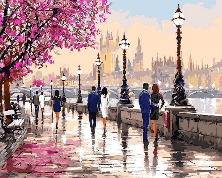 Фото Картины на холсте по номерам, Городской пейзаж GX 9640 Романтичный Лондон  Картина по номерам  40х50см без коробки, в пакете