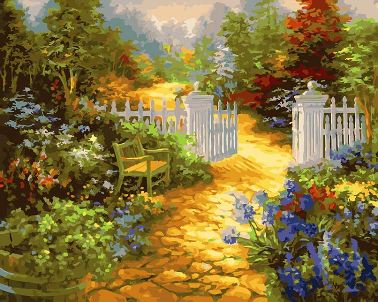 Фото Картины на холсте по номерам, Картины  в пакете (без коробки) 50х40см; 40х40см; 40х30см, Пейзаж, морской пейзаж. GX 27512 Ворота в сад Роспись по номерам на холсте 40х50см без коробки, в пакете