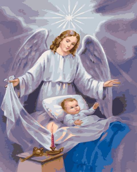 Фото Картины на холсте по номерам, Романтические картины. Люди KGX 4861 Ангел-хранитель Картина по номерам  40х50см в коробке