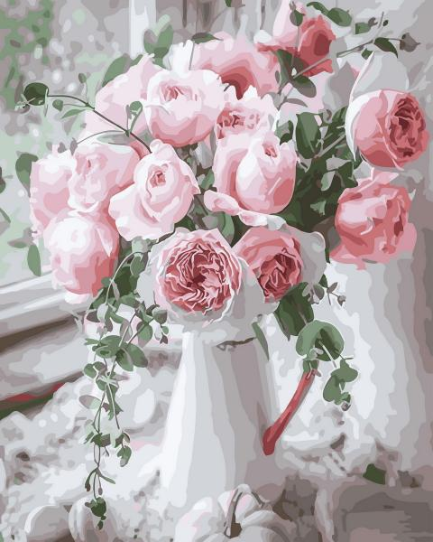 Фото Картины на холсте по номерам, Букеты, Цветы, Натюрморты KGX 29390 Нежность роз Картина по номерам  40х50см в коробке