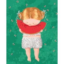 Фото Картины на холсте по номерам, Гапчинская (картины по номерам) KNG036 Арбузик Картина по номерам Гапчинская на холсте 40x50см
