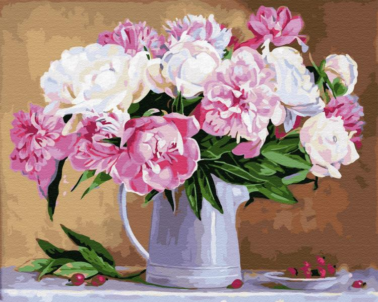 Фото Картины на холсте по номерам, Букеты, Цветы, Натюрморты KGX 29775 Натюрморт из пионов Картина по номерам на холсте 40х50см