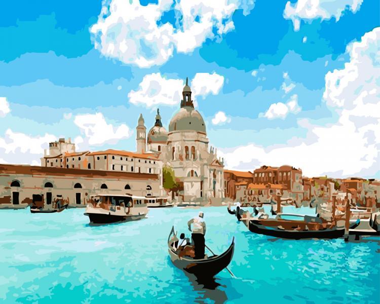 Фото Картины на холсте по номерам, Картины  в пакете (без коробки) 50х40см; 40х40см; 40х30см, Пейзаж, морской пейзаж. GX 5384 Венеция  Картина по номерам  40х50см без коробки, в пакете
