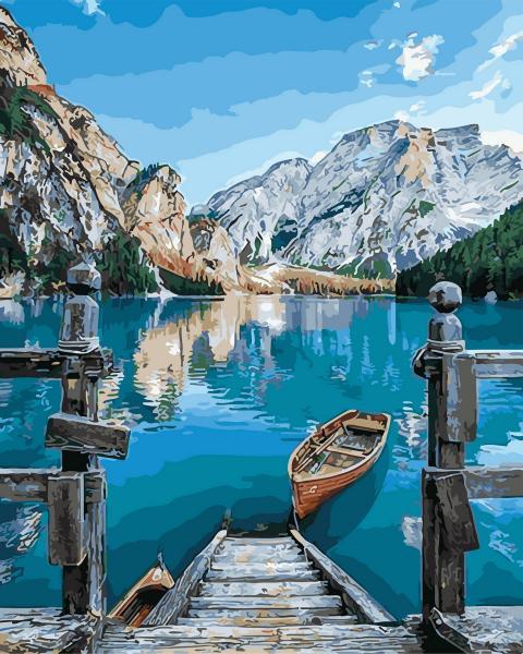 Фото Картины на холсте по номерам, Картины  в пакете (без коробки) 50х40см; 40х40см; 40х30см, Пейзаж, морской пейзаж. GX 29450 Альпийское озеро Картина по номерам  40х50см без коробки, в пакете