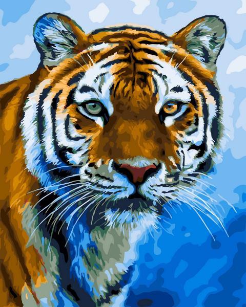 Фото Конструкторы, Деревянные сборные модели, Животные, птицы, рыбы GX 23996 Амурский тигр Картина по номерам на холсте 40х50см без коробки, в пакете