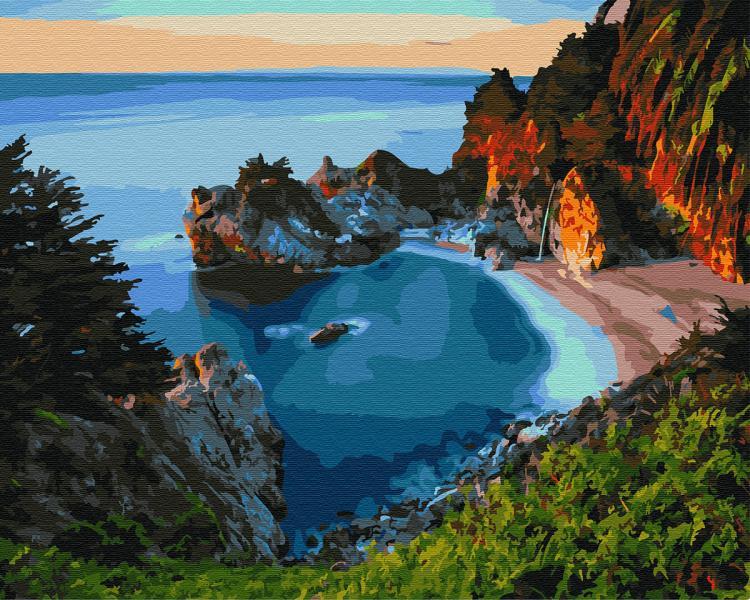 Фото Картины на холсте по номерам, Морской пейзаж KGX 29773 Морской залив Картина по номерам на холсте 40х50см
