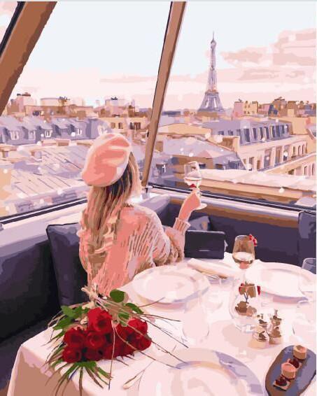Фото Картины на холсте по номерам, Романтические картины. Люди KGX 29245 Девушка на телебашне в Париже Картина по номерам на холсте 40х50см