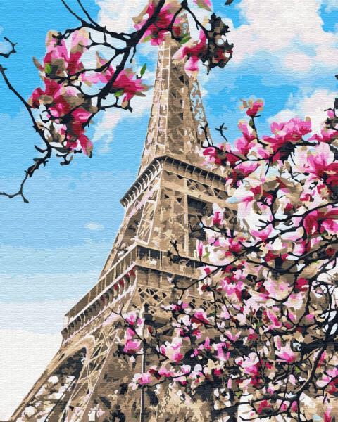 Фото Картины на холсте по номерам, Картины  в пакете (без коробки) 50х40см; 40х40см; 40х30см, Пейзаж, морской пейзаж. GX 32320 Цветение магнолий в Париже Картина по номерам на холсте 40х50см без коробки, в пакете