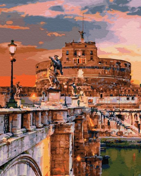 Фото Картины на холсте по номерам, Городской пейзаж GX 32302 Замок Ангела в Риме Картина по номерам на холсте 40х50см без коробки, в пакете
