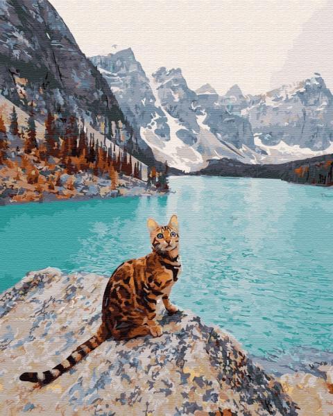 Фото Конструкторы, Деревянные сборные модели, Животные, птицы, рыбы GX 32308 Кот на озере Морейн Картина по номерам на холсте 40х50см без коробки, в пакете