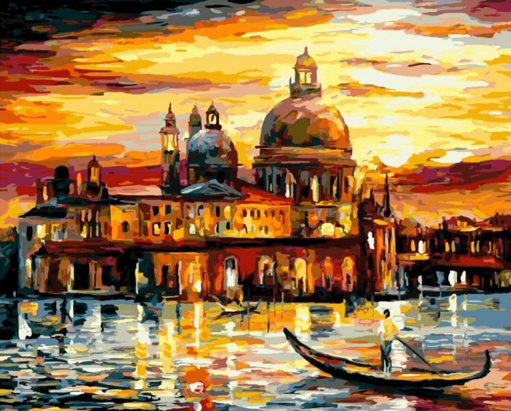 Фото Картины на холсте по номерам, Городской пейзаж KGX 6753 Золотое небо Венеции Картина по номерам на холсте 40х50см