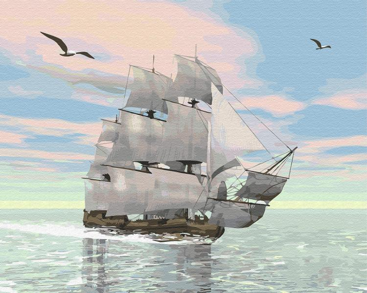 Фото Картины на холсте по номерам, Картины  в пакете (без коробки) 50х40см; 40х40см; 40х30см, Пейзаж, морской пейзаж. GX 29368 Корабль на рассвете Картина по номерам на холсте 40х50см без коробки, в пакете