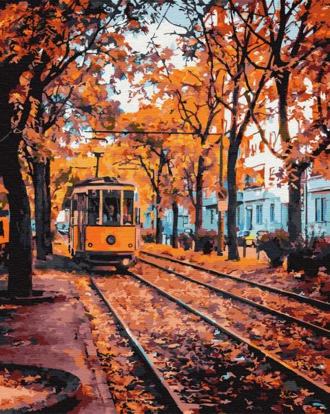 Фото Картины на холсте по номерам, Городской пейзаж KGX 32300 Осенний трамвай Картина по номерам на холсте 40х50см