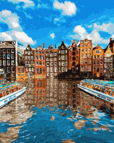 Фото Картины на холсте по номерам, Городской пейзаж KGX 32319 Красочный Стокгольм Картина по номерам на холсте 40х50см