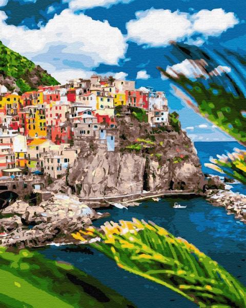 Фото Картины на холсте по номерам, Морской пейзаж KGX 32323 Курортный городок в Италии Картина по номерам на холсте 40х50см