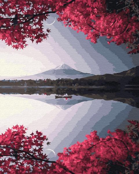 Фото Картины на холсте по номерам, Пейзаж KGX 32325 Вечер у горы Фудзи Картина по номерам на холсте 40х50см