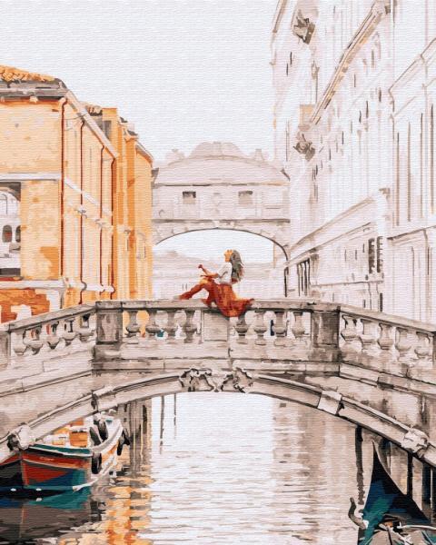 Фото Картины на холсте по номерам, Романтические картины. Люди KGX 32316 Девушка на мосту Венеции Картина по номерам на холсте 40х50см