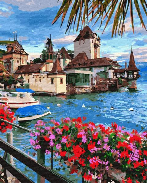 Фото Картины на холсте по номерам, Картины  в пакете (без коробки) 50х40см; 40х40см; 40х30см, Пейзаж, морской пейзаж. GX 32303 Городок в Швейцарии Картина по номерам на холсте 40х50см без коробки, в пакете