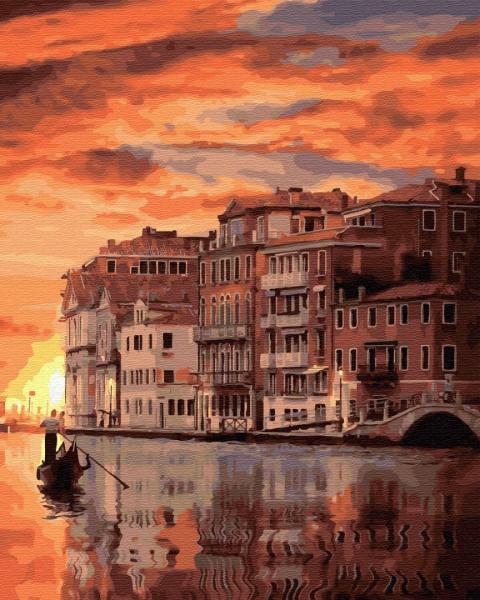 Фото Картины на холсте по номерам, Картины  в пакете (без коробки) 50х40см; 40х40см; 40х30см, Пейзаж, морской пейзаж. GX 32324 Закат в Венеции Картина по номерам на холсте 40х50см без коробки, в пакете