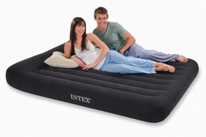 Кровать 2 двухместная надувная  с подголовником Intex 152х203х30 см.