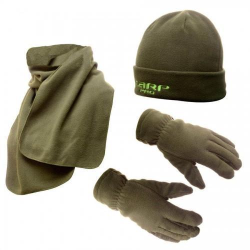 Набор флисовая шапка + шарф + рукавички Carp Pro