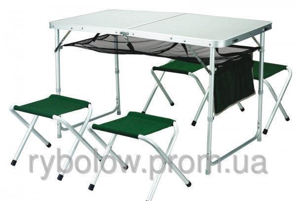 Фото Мебель туристическая Стол + 4 стула туристический набор алюминиевый
