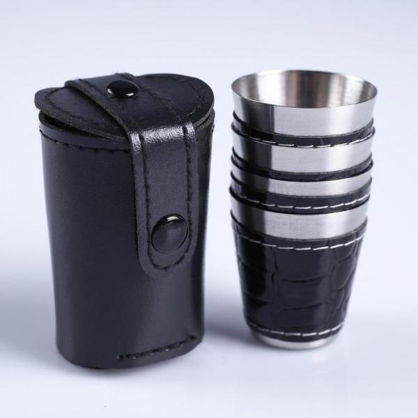 Набор рюмок с отделкой из экокожи, 4 шт. × 30 мл, в чёрном чехле