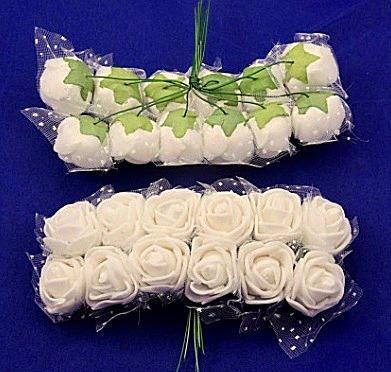 Фото Цветы искусственные Роза  латексная  2,2 -  2,3 см ,   Кремовая  с  фатином. 1 упаковка  12  розочек.