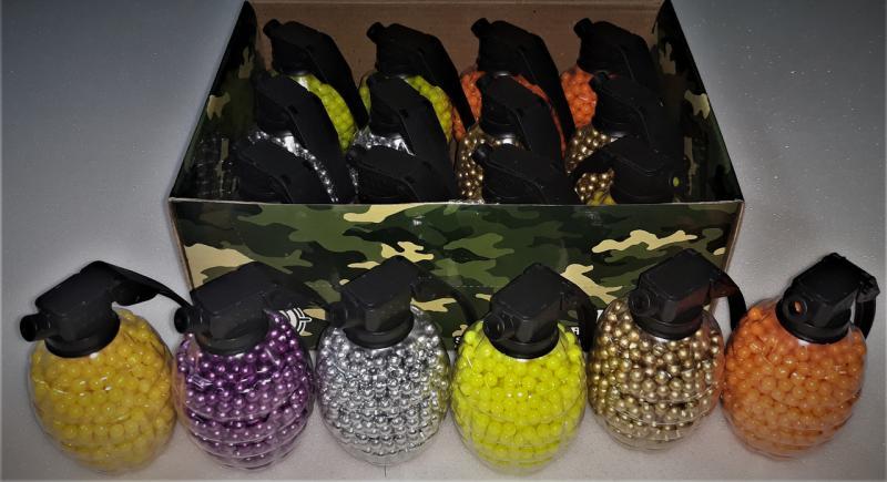 Фото Игрушечное Оружие, Стреляет пластиковыми 6мм  пульками, Пульки пластиковые 6мм Пульки (шары) пластиковые разноцветные в гранате  12х800шт.  9600шт.  6мм