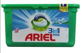 Капсулы для стирки Ariel pods, 38 штук. Универсальные (Альпийская свежесть)