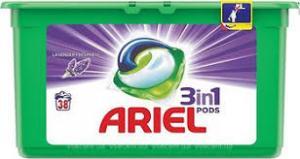 Капсулы для стирки Ariel pods, 38 штук. Для цветного белья с ароматом лаванды.