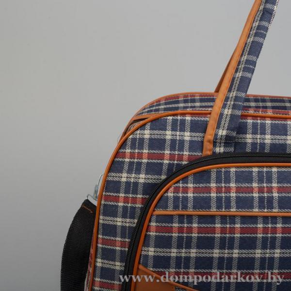 Фото ПОСМОТРЕТЬ ВЕСЬ КАТАЛОГ, Галантерея, Дорожные / спортивные сумки  Сумка дорожная, отдел на молнии, наружный карман, длинный ремень, цвет синий/красный
