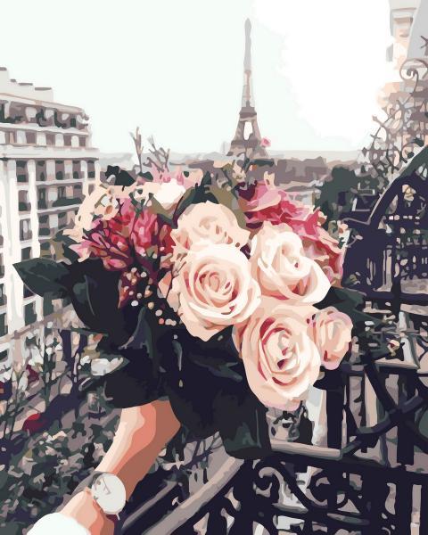 Фото Картины на холсте по номерам, Картины  в пакете (без коробки) 50х40см; 40х40см; 40х30см, Цветы, букеты, натюрморты GX 32929 Розы в Париже Картина по номерам на холсте 40х50см без коробки, в пакете
