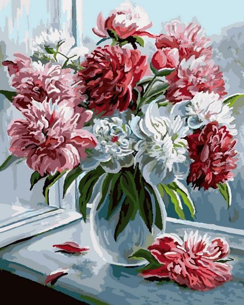 Фото Картины на холсте по номерам, Букеты, Цветы, Натюрморты KGX 9084 Пионы Картина по номерам на холсте 40х50см
