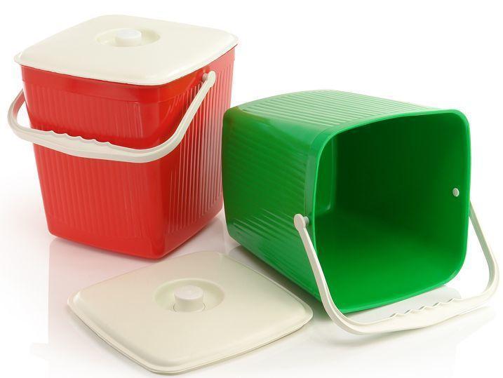 Ведро для мусора квадратное пластиковое 12 литров (Юнипласт)