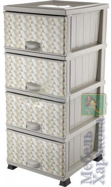 Комод Элиф пластиковый 4 ящика с рисунком Пирамида (Elif Plastik) - Пластиковые комоды и ящики для хранения в Харькове