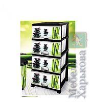 Комод Элиф пластиковый 4 ящика с рисунком Бамбук (Elif Plastik) - Пластиковые комоды и ящики для хранения в Харькове