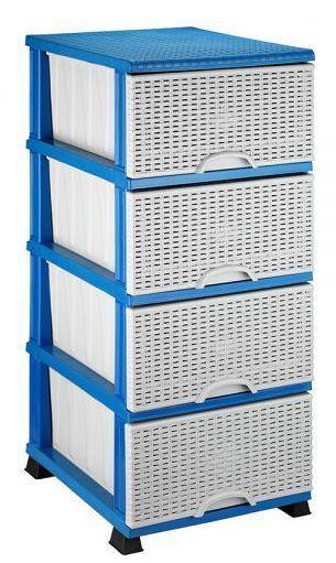 Комод Элиф пластиковый 4 ящика плетёнка голубой (Elif Plastik)