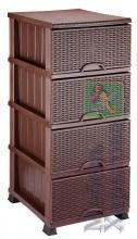 Комод Элиф пластиковый 4 ящика плетёнка коричневый (Elif Plastik) - Пластиковые комоды и ящики для хранения в Харькове