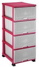 Комод Элиф пластиковый 4 ящика розовый (Elif Plastik)