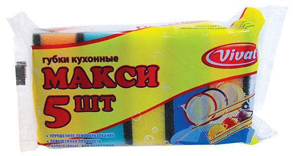 Губка для мытья посуды кухонная Vivat «Макси» (87×58×30 мм) 5 шт/уп