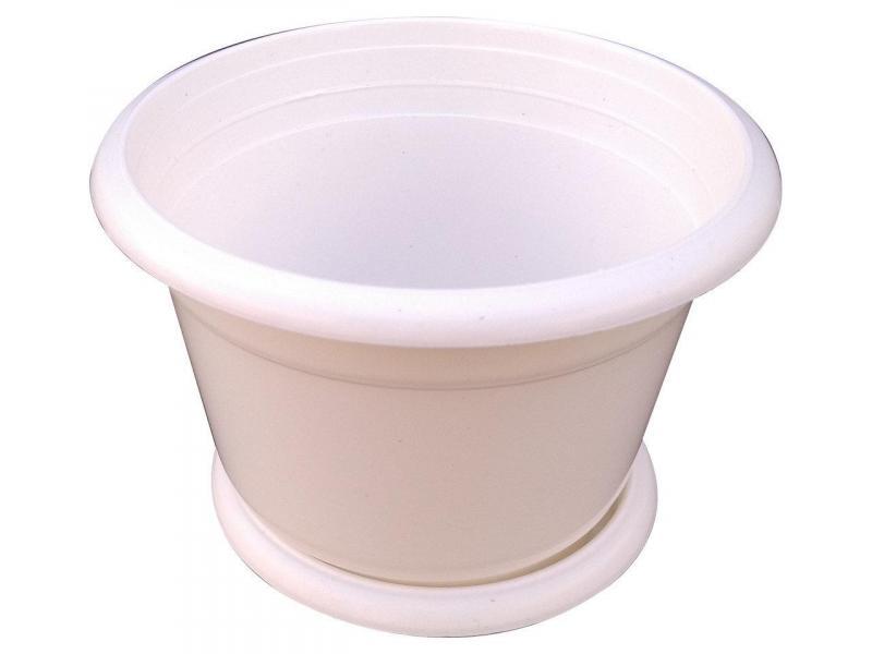 Горшок для цветов Ø 140 мм с подставкой 1 литр белый (Юнипласт, Харьков)