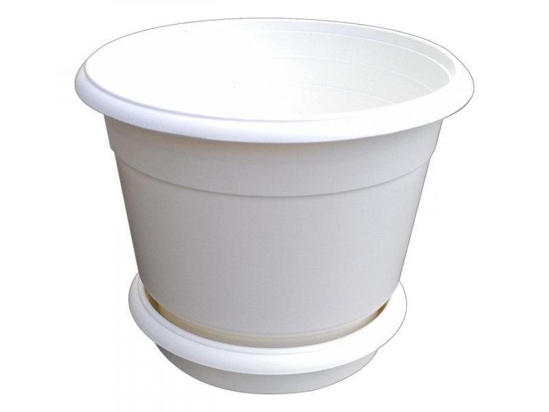Горшок для цветов Ø 300 мм с подставкой 12 литров белый (Юнипласт, Харьков)
